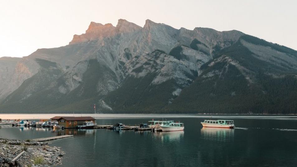 Boat houses at Lake Minnewanka