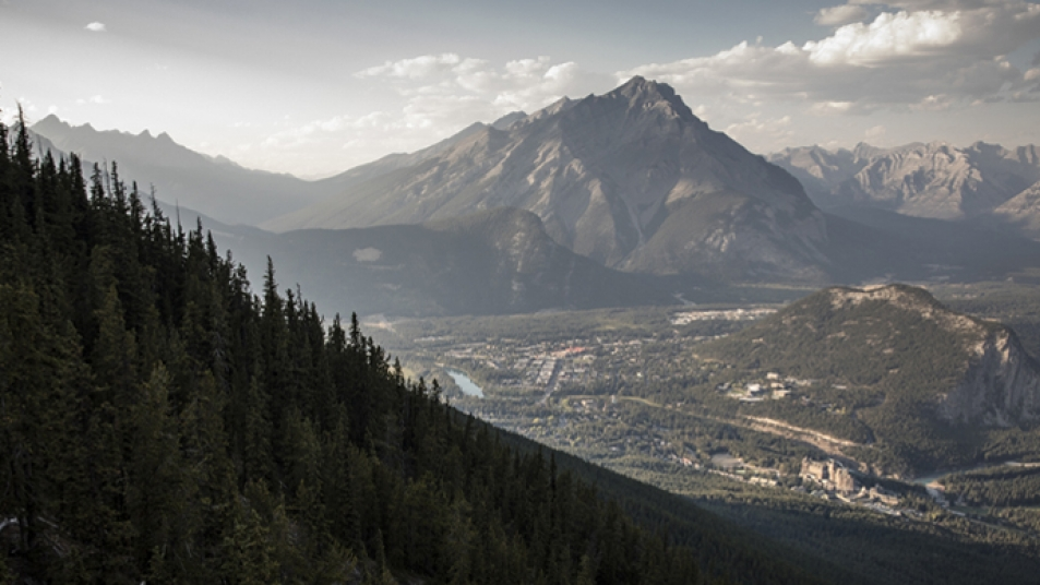 The dramatic landscape of Banff, Alberta, as seen from Sulphur Mountain.