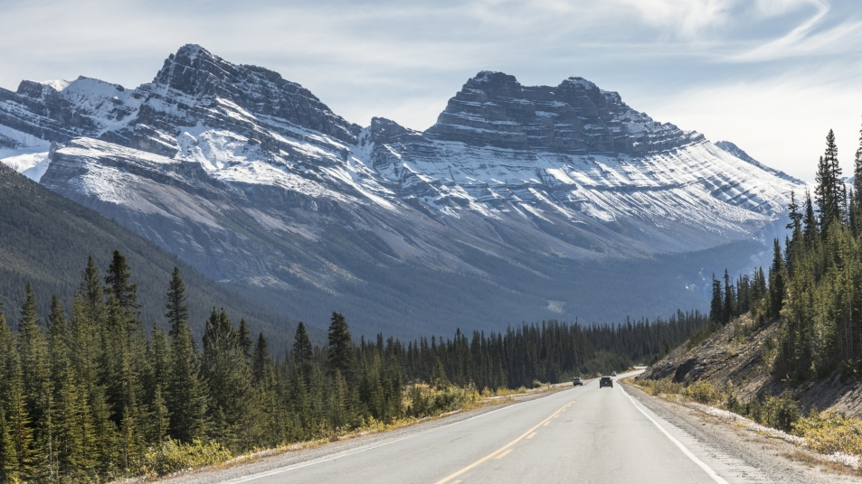 The Icefields Parkway in the Canadian Rockies, considered one of the most scenic drives in the world.
