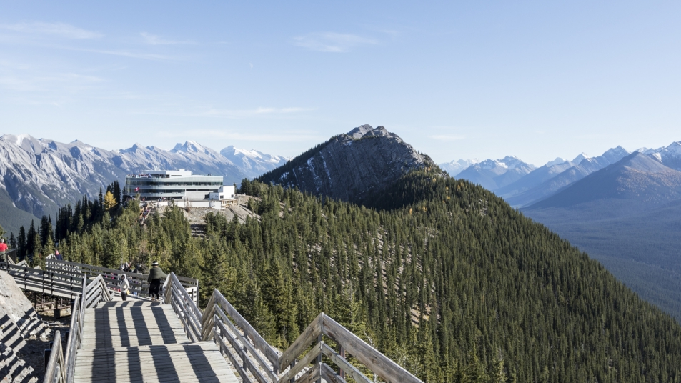 The Sulphur Mountain Boardwalk offers views of six mountain ranges and the town of Banff below.