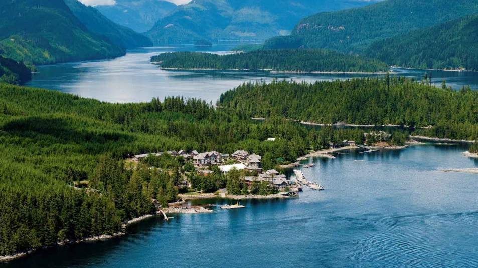 The pristine surroundings of Sonora Resort, a luxury eco-resort located in British Columbia's Discovery Islands.