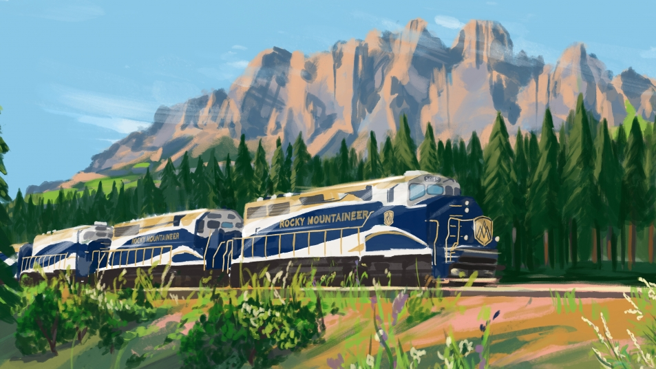 Rocky Mountaineer travels by Castle Mountain in Banff National Park.