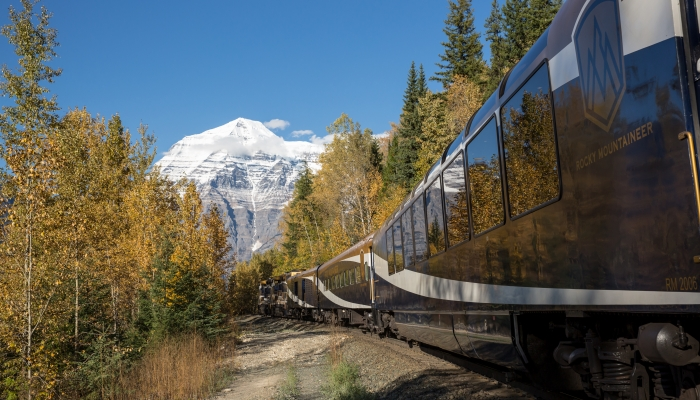 train approaches mount robson