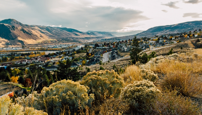 Kamloops landscape of mountains and city
